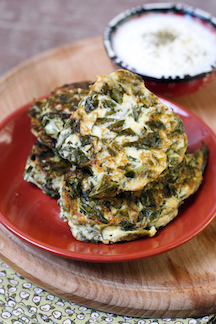 Greek Spinach Latkes, gluten free, low carb, Cooking for the King, Chanukah