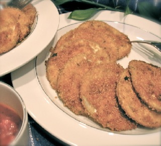 Oven Fried Eggplant ~ creamy, crunchy winner. Yummy in sandwiches or the basis for Eggplant Parmigana